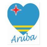 Corazón de la bandera de Aruba Postal