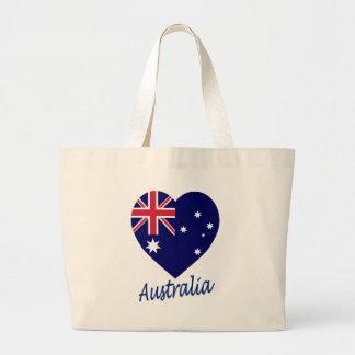 Corazón de la bandera de Australia Bolsas Lienzo