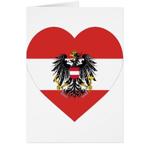 Corazón de la bandera de Austria Felicitación