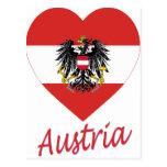 Corazón de la bandera de Austria Postales