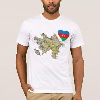 Corazón de la bandera de Azerbaijan y camiseta del