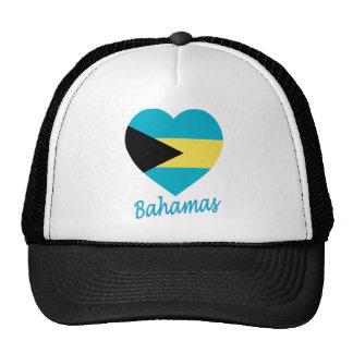 Corazón de la bandera de Bahamas Gorros Bordados