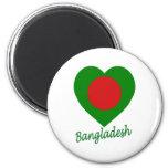 Corazón de la bandera de Bangladesh Imanes