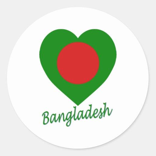 Corazón de la bandera de Bangladesh Pegatina Redonda