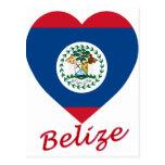 Corazón de la bandera de Belice Tarjeta Postal