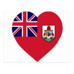 Corazón de la bandera de Bermudas Postales