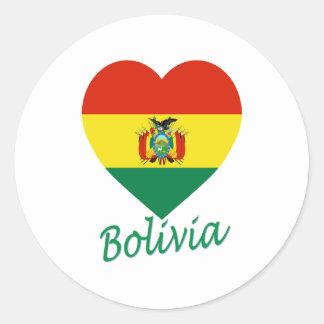 Corazón de la bandera de Bolivia Pegatinas Redondas