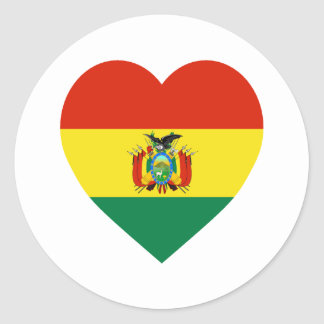 Corazón de la bandera de Bolivia Etiquetas Redondas