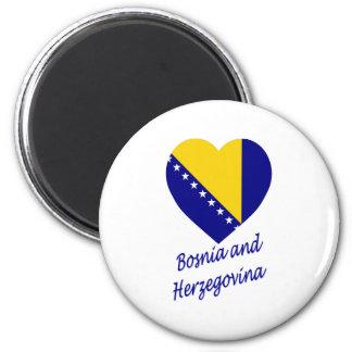 Corazón de la bandera de Bosnia y de Herzegovina Imán Redondo 5 Cm
