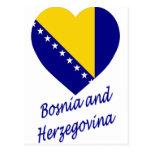 Corazón de la bandera de Bosnia y de Herzegovina Tarjetas Postales