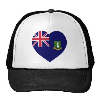 Corazón de la bandera de British Virgin Islands Gorras