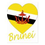 Corazón de la bandera de Brunei Tarjetas Postales