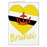 Corazón de la bandera de Brunei Tarjeton