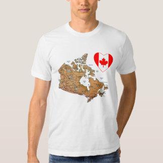 Corazón de la bandera de Canadá + Camiseta del Remera