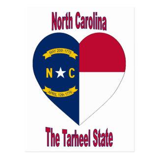 Corazón de la bandera de Carolina del Norte Tarjeta Postal