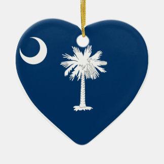 Corazón de la bandera de Carolina del Sur Adorno Navideño De Cerámica En Forma De Corazón
