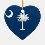 Corazón de la bandera de Carolina del Sur Ornamente De Reyes
