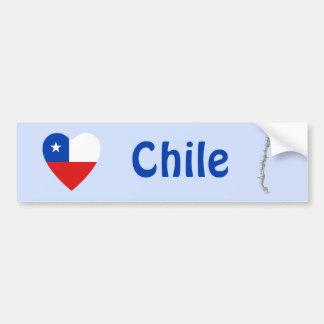 Corazón de la bandera de Chile + Pegatina para el  Etiqueta De Parachoque