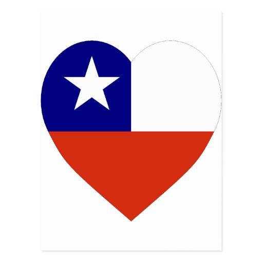 Corazón de la bandera de Chile Postales