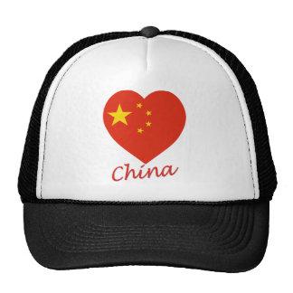 Corazón de la bandera de China Gorro