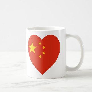 Corazón de la bandera de China Taza Clásica