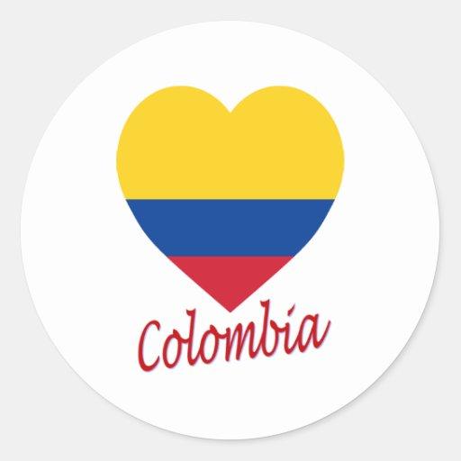Corazón de la bandera de Colombia Pegatina Redonda