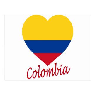 Corazón de la bandera de Colombia Tarjetas Postales