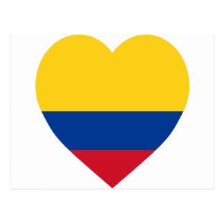 Corazón de la bandera de Colombia Tarjeta Postal