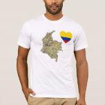 Corazón de la bandera de Colombia y camiseta del