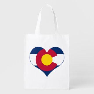Corazón de la bandera de Colorado Bolsa Para La Compra