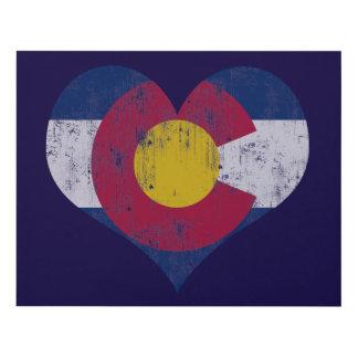 Corazón de la bandera de Colorado del vintage Cuadro