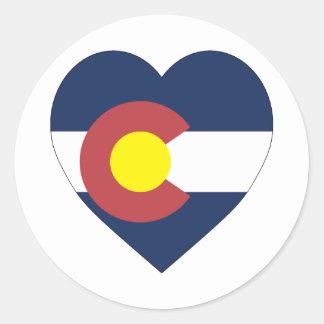 Corazón de la bandera de Colorado Pegatina Redonda
