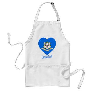 Corazón de la bandera de Connecticut Delantal