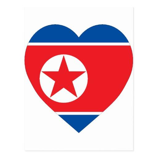 Corazón de la bandera de Corea (norte) Postales