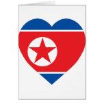 Corazón de la bandera de Corea (norte) Tarjetas