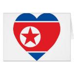 Corazón de la bandera de Corea (norte) Tarjeton