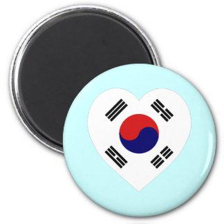 Corazón de la bandera de Corea (sur) Iman De Nevera