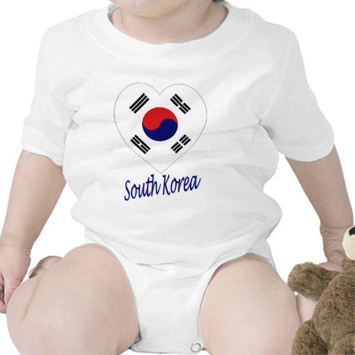 Corazón de la bandera de Corea (sur) Trajes De Bebé