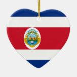 Corazón de la bandera de Costa Rica Adorno Navideño De Cerámica En Forma De Corazón