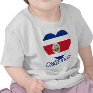 Corazón de la bandera de Costa Rica Camisetas