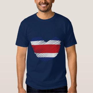 Corazón de la bandera de Costa Rica Playeras