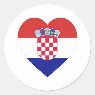 Corazón de la bandera de Croacia Pegatina Redonda