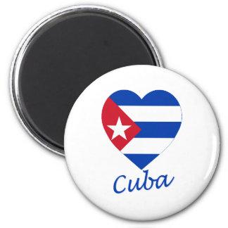 Corazón de la bandera de Cuba Imán Redondo 5 Cm