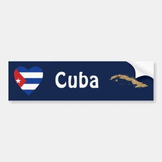 Corazón de la bandera de Cuba + Pegatina para el p Pegatina De Parachoque