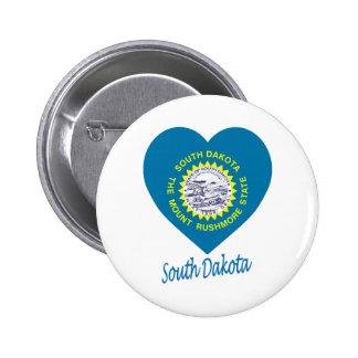 Corazón de la bandera de Dakota del Sur Pins