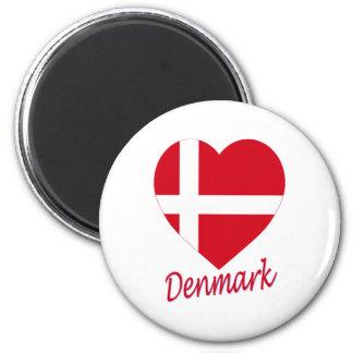 Corazón de la bandera de Dinamarca Imán Redondo 5 Cm