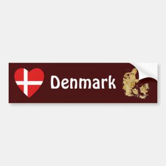 Corazón de la bandera de Dinamarca + Pegatina para Pegatina Para Auto