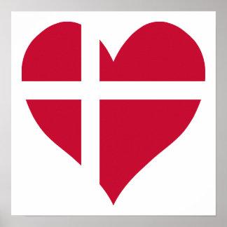 Corazón de la bandera de Dinamarca Póster