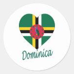 Corazón de la bandera de Dominica Pegatina Redonda