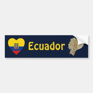 Corazón de la bandera de Ecuador + Pegatina para e Pegatina De Parachoque